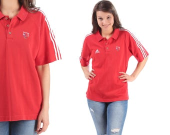 Red ADIDAS Polo Shirt 90s Team GB Olympics Stripped Top Hipster Retro Adidas Top Red White Vintage Normcore Cotton Men Women Medium