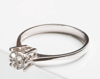 Engagement ring, Solitaire ring, jewelry ring in white gold with brilliant-cut diamonds - 750 gold - shiny