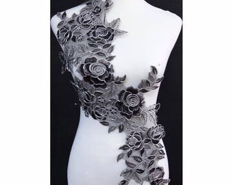 1pc x New Black/Grey/Silver Flower Embroidery Apparel Sewing Lace Applique Trim Patches Costume Decorating TBNC43P