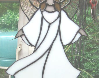 Stained glass floating Angel