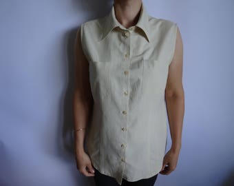 Beige Women's  Blouse/ Sleeveless  Blouse With Button/  New  Vintage Blouse/Cotton Fabric Blouse/Size:38