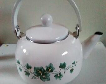White enameled Tea Pot With Ivy Decor