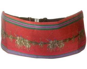 Ralph Lauren Burgundy Silk Polo Match Cummerbund. 1980's.