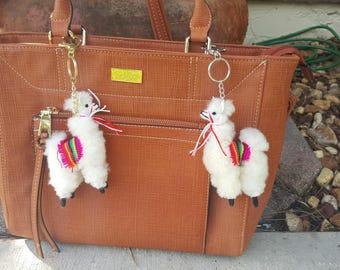 Llama keychain, White llama keychain, Bag charm, Llama purse charm, Llama Gift