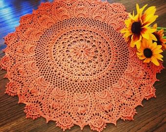 Crochet Doily; Fall doily; Fall Color Doily; 18 Inches Round Doily