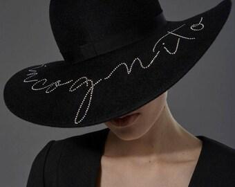 Black felt crystal incognito hat