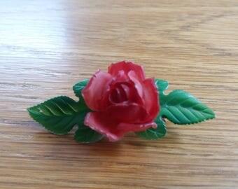 Vintage Plastic Rose Brooch - 30s 40s - Kitsch Chic Boho - Lancashire - Valentines Day?