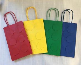 Lego Favor Bag, Set of 12, Lego party, Lego brick bag, Lego bag, Lego primary colors, Lego 3-D bag