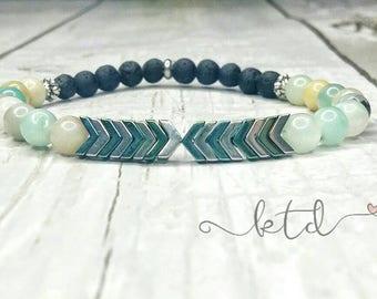 Essential oil diffuser bracelet- amazonite bracelet- chevron bracelet- aromatherapy bracelet- diffuser jewelry- gemstone and lava bracelet