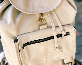 Travel Laptop Backpack Cowhide Beige