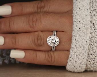 Oval Moissanite Engagement Ring, 14k White Gold Moissanite and Diamond Halo Ring, Diamond Half Eternity Band, Moissanite Bridal Ring Set