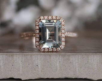 Rose Gold Natural Aquamarine Emerald Cut Engagement Ring, 14k Rose Gold Aquamarine and Diamond Halo Ring, Diamond Half Eternity Band