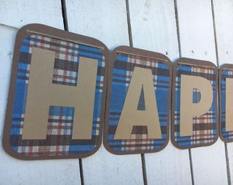 Boy Blue Plaid Happy Birthday Banner | Blue and Brown Plaid Banner | Boy birthday decorations