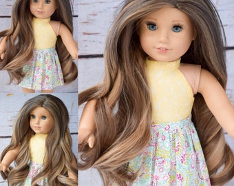 "Custom Doll Wig for 18"" American Girl Doll  - Heat Safe - Tangle Resistant - fits 10-11"" head circumference of any doll Doll Wig NATURAL"