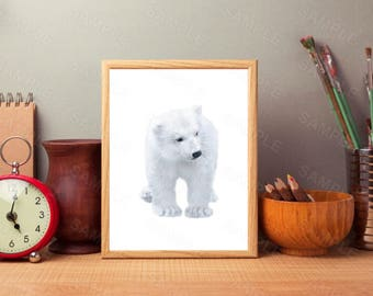 Polar bear art, Nursery art, Zoo animals, PRINTABLE art, Nursery decor, Animal art, Baby animals, Nursery wall art, Kids art, Bear print