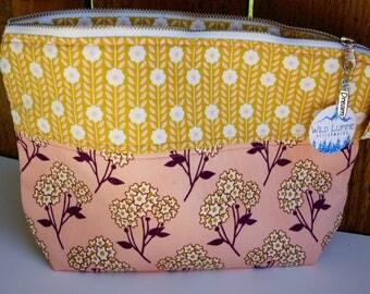 Pink and yellow wide mouth zipper pouch, medium zipper pouch