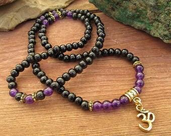 Amethyst mala bracelet amethyst gemstone mala beads sandalwood mala necklace 108 bead om mala prayer beads Buddhist mala yoga gift.