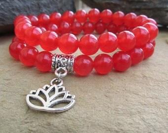 Carnelian bracelet gemstone bracelet gemstone bead lotus charm yoga bracelet sacral chakra bracelet boho new age meditation healing gift.