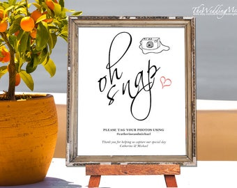 Oh Snap hashtag sign, instagram sign, hashtag wedding sign, wedding hashtag sign, wedding sign template, instant download, editable sign 012