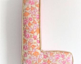 Letter wall liberty fabric with Gold piping