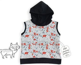 Oversized sleeveless hoodie sewing pattern, baby sewing patterns, kids sewing pattern