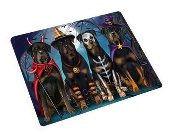 Happy Halloween Trick or Treat Rottweiler Dog Tempered Cutting Board