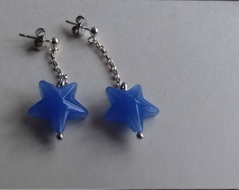 Blue star dangly silver earrings