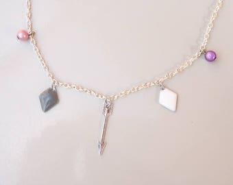 Silver Choker necklace the arrow, grey and white sequins and magic pearls