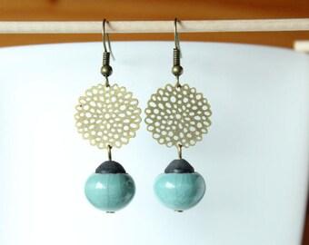Handcrafted celadon blue raku Pearl Earrings