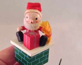 Vintage Santa Wood Christmas Ornament