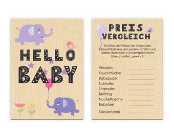 Baby shower game 10 cards puller game