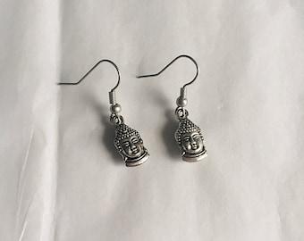 Buddha Earrings • Buddha Drop Earrings • Drop Earrings • Silver Earrings