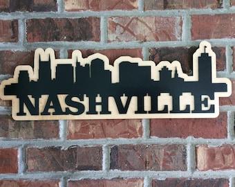 Nashville, Tennessee skyline silhouette, wood, laser cut