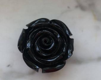 Vintage Ceramic Black Rose Flower Bead Side Drilled Smooth Bottom 30mm Wide by 20mm Deep (1)
