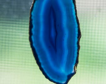 Beautiful Blue Agate Slice Pendant Gold Electroplate Gold Bail (1)