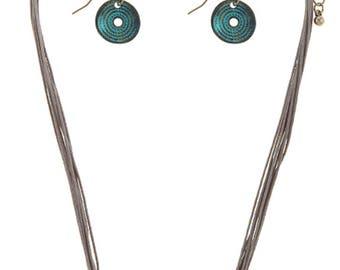 Modernist etched disc cord necklace set