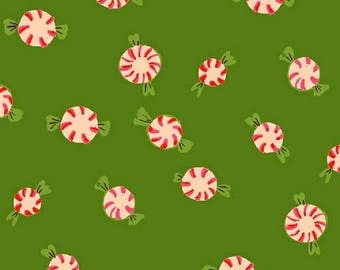 PREORDER - Heather Ross Candies in Green Sugar Plum Collection Fabric Yardage Arrives May 2018