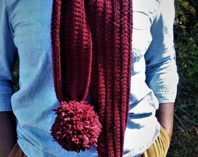 Burgundy Long Crochet Pom Pom Scarf (CHOOSE YOUR COLOR)
