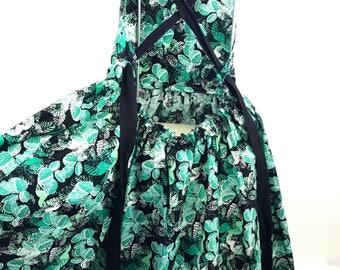 Black mint green leaf print dress, 6th Birthday dress, party dress