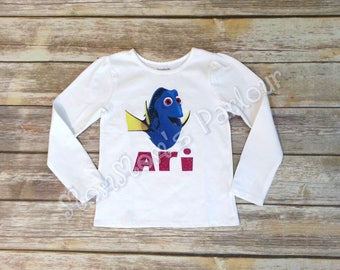 Dory glitter shirt, finding Nemo shirt, finding nemo dory birthday shirt.