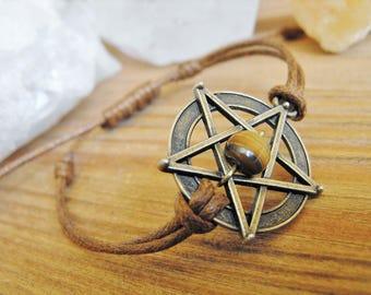 Pentagram and Tiger's Eye Adjustable Brown Cord Bracelet