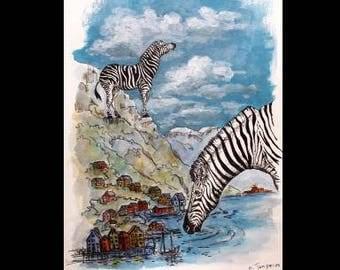 Zebras,Animal  Ink Art, Watercolor, Acrylic Paint, Scandinavian Landscape