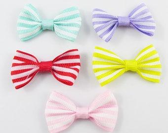 10pcs Grosgrain Ribbon Striped Bows for Hair Clips DIY Craft 38x24mm Pick Colour