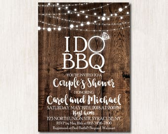 I Do BBQ Invitation, I Do BBQ Couples Shower invitation, I Do BBQ garland lights party Invitations, I do bbq Printable Invitation - 1691