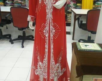 Plus Size Kaftan/ Size XL Embroidered Flour lenght Kaftan