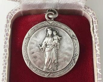 Save 20% Our Lady of Tibidabo, Virgin Mary, Blessed Mother Vintage Religious Solid Silver Spanish Catholic Medal Hallmarked