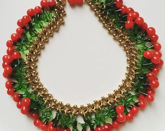 1940s vintage signed Cosmo Gold cherries glass charm necklace