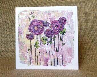 handmade card,  handmade birthday card, blank card, flowers card, card for her,  purple flowers