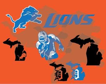 Detroit Lions svg,  lions clipart, detroit svg cricut, digital files – svg collection