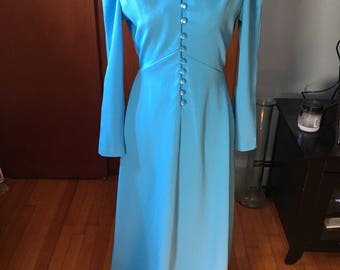 Vintage 1970's Blue V-Neck Full Length Gown With Pearlescent Buttons